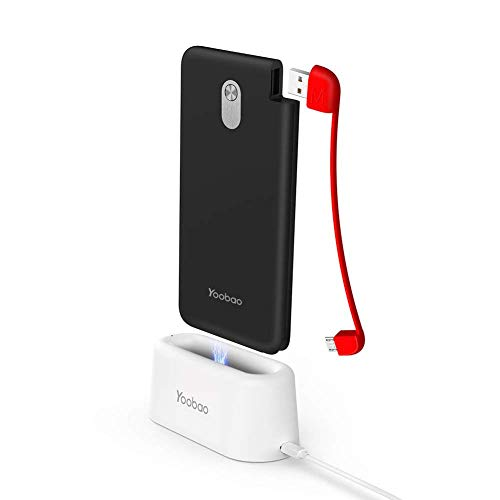Portable Charger Power Bank 10000mAh with Built in Pluggable Cable, Yoobao Slim High Capacity Exteral Battery for Android Phone Tablet Huawei Xiaomi Google etc,Include Charging Dock-USB Micro (Black)