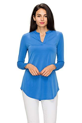 MBJ WT2024 Womens China Collar Long Sleeve Shirt Tail Top L Royal_Brite