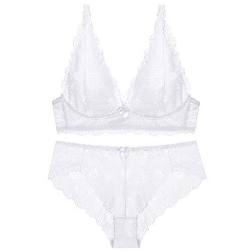 Scarleti Women's Comfort Underwear Sexy lace Wire-Free Bra and Panty Set (34D, 1399WHITE)