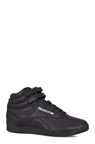 Reebok Women's Freestyle Hi Walking Shoe, Black, 9 M US (High Top Tennis Shoes For Ankle Support)
