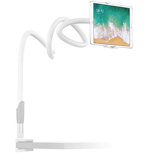 (EasyAcc Premium Gooseneck Cellphone Mount/iPad Holder for iPhone Xr Xs Max/Galaxy Note 9 / Galaxy Tab S4 /iPad Pro 9.7/Tablets Mount for 4-10.6 Devices 360 Rotating - White Grey)