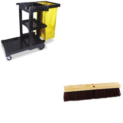 KITBWK20318RCP617388BK - Value Kit - Boardwalk Floor Brush Head (BWK20318) and Rubbermaid Cleaning Cart with Zippered Yellow Vinyl Bag, Black (RCP617388BK) by Boardwalk