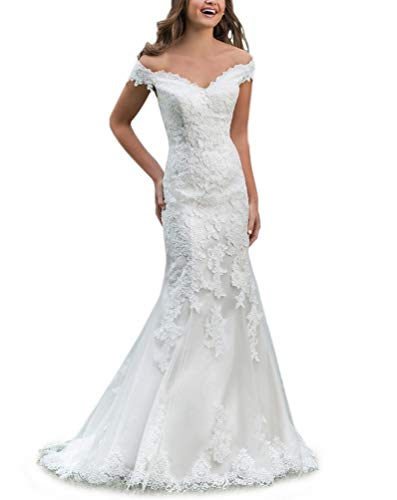 CJMY Women's Mermaid Lace Appliques Bridal Gown 2019 Off Shoulder Romantic Wedding Dress for Bride with Train White 14 ()