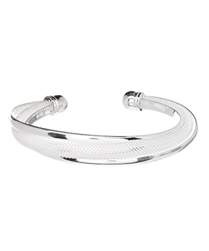 Hollywood Sensation Silver Bracelets for Women Bangle Bracelets : Mandy Sterling Silver Plated Bracelet,925 Sterling Silver Plated Bangle Cuff Bracelet Silver Bracelet for Women