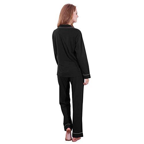 Moda Ropa Taille Sólido Pijama Schwarz Hogar Trousers Pijamas Solapa De Manga Elastische Para 2 Mujer Larga Pedazos El Color qFvZt