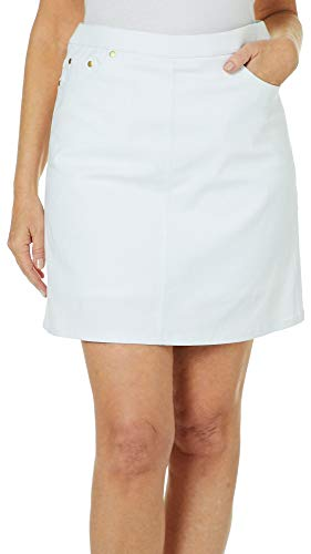 Hearts of Palm Petite Essentials Solid Tech Stretch Skort 16P White