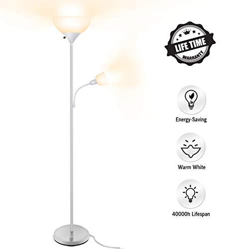 Floor Lamp - LED Floor Lamps for Bedrooms, 9W+4W Energy Saving, with Adjustable Reading Lamp, 3000K Warm White, Torchiere Floor Lamps for Living Room, Reading, Working, Office, White (Lamps Floor Sale Cheap)