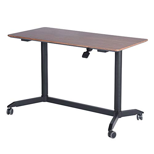 HOMY CASA Modern Adjustable Height Desk Computer Desk Home Office Study Workstation Wood & Steel PC Laptop