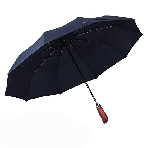 Price comparison product image Large Folding Umbrella with Wood Handle for Rain Windproof Auto Open Close Travel Umbrellas Wind Resistant and Gift Box Portable - Blue
