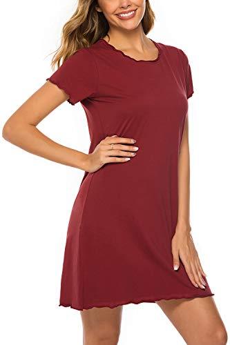 ZEGOLO Womens Sleepshirt Dress 100% Cotton Sleepwear Ruffle Seams Nightdress Loungewear S-XXL