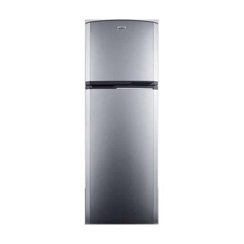 Summit FF948SS 8.8 cu.ft. frost-free refrigerator-freezer adjustable glass shelves and reversible doors with platinum cabinet and stainless steel