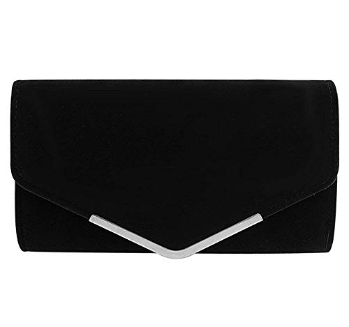 iBoBoy Women Clutch Purse Evening Bag Prom Handbag With Detachable Chain for Wedding Velvet (Black), 1062in