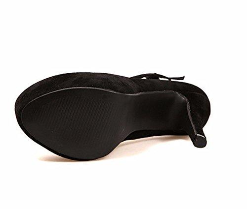 Agua Cruzados Las Bomba Zapatos Prueba De QIYUN Atractivas Cinturon Mujeres La De Negro Hebilla Z Primavera De De De Tacon Del Aguja 8q7AwPn5