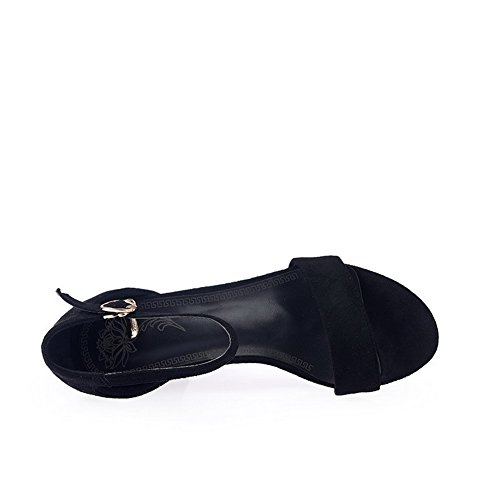 AgooLar Women's Kitten-Heels Frosted Solid Buckle Open Toe Sandals Black gHS00ys