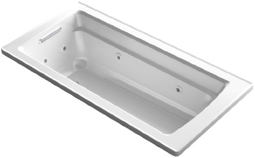 66 Inch Tub (KOHLER K-1949-0 Archer ExoCrylic 66-Inch x 32-Inch Drop-In Whirlpool Bath with Reversible Drain, White)