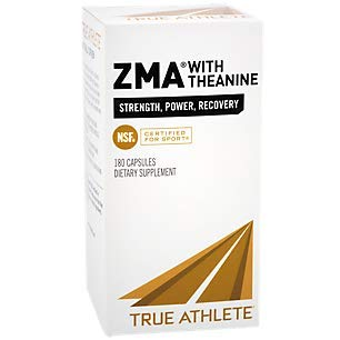 True Athlete ZMA with Theanine Combination of Zinc Magnesium to Help Increase Muscle Strength Power, NSF Certified for Sport 180 Capsules