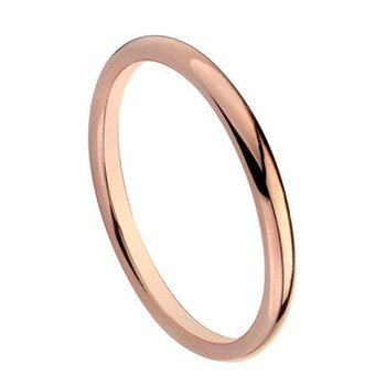 Tungsten Carbide Mens Ladies Unisex Ring Wedding Band 2MM Dome Shiny Rose Gold Plated Comfort Fit