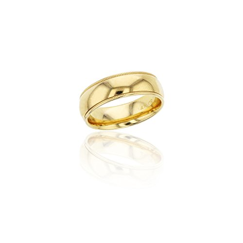 14K Yellow Gold Comfort Fit 6mm Milgrain Wedding Band by Decadence