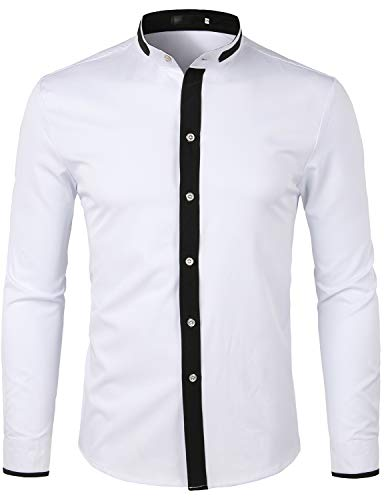 ZEROYAA Men's Hipster Banded Collar Slim Fit Long Sleeve Dress Shirt with Constrast Trim Z76 White Small
