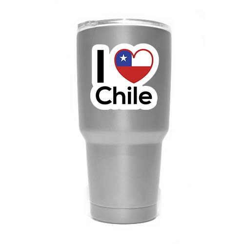 Two 3 Inch Decals MKS0182 Love Chile Flag Decal Sticker Home Pride Travel Car Truck Van Bumper Window Laptop Cup Wall