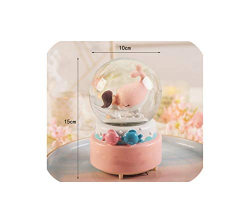 8-10Cm Carousel Unicorns Snow Globes Glass Music Box Home Desktop Decoration Wedding Birthday Christmas,Large Pink - Snow Carousel