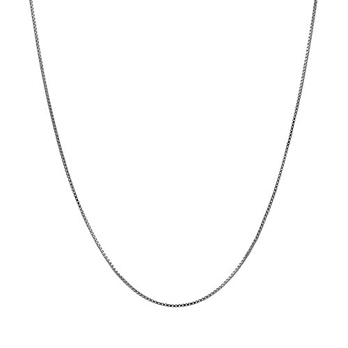Gold Solid Necklace Box Chain (14K Thin Solid White Gold 0.5mm Box Chain Necklace - 20 Inches)