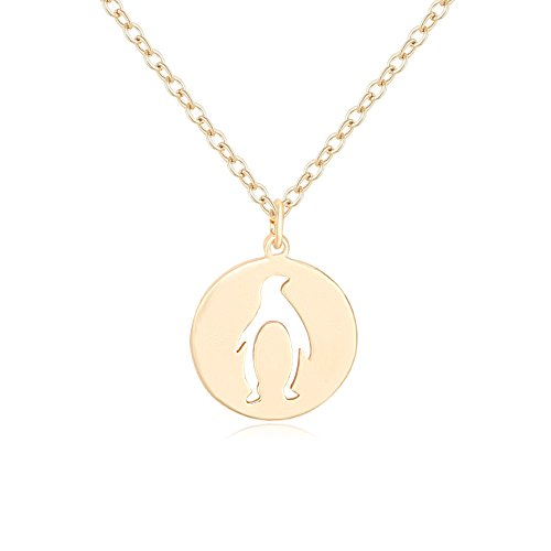 TUSHUO Hollow Penguin Necklace Dainty Jewelry Animal Penguin Charm Pendant Necklace for Women and Penguin Lover (Gold) (Charm Pendant Penguin)