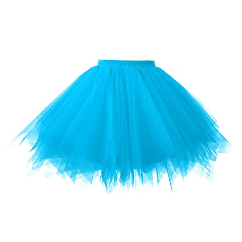 Topdress Women's 1950s Vintage Tutu Petticoat Ballet Bubble Skirt (26 Colors) Blue M -