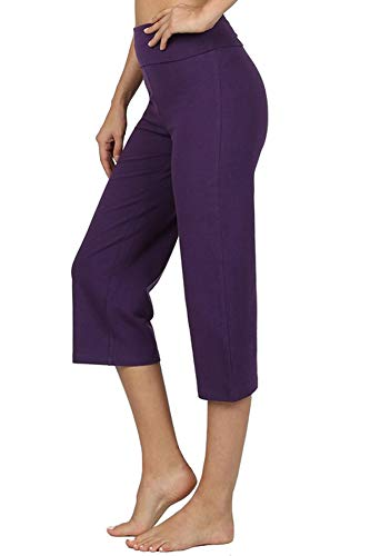 Re.Born Womens Comfort Slim Gaucho Flare Capri Yoga Athletic Pants with Fold Over Waistband DkPurple 1XL