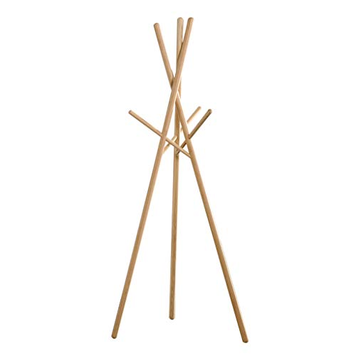 Bedroom Oak Coat Rack - ZXW Coat Rack Nordic Modern Minimalist White Oak Coat Rack, Living Room Bedroom Clothes Rack Coat Rack (Color : Wood Color, Size : W65xH173cm)