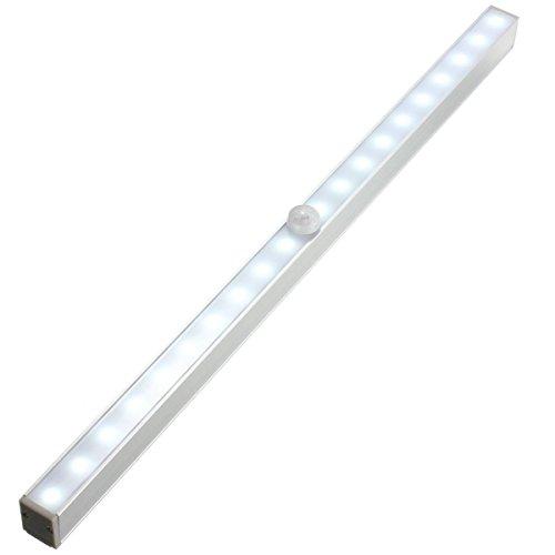 KINGSO 20LED Automatische Nachtlicht Drahtlose LED-Lichtleiste Schrankleuchte mit Bewegungsmelder Batteriebetrieben Weiß