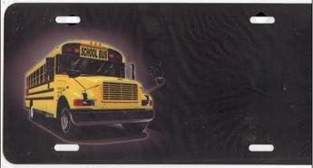 School Bus Airbrush License Plate