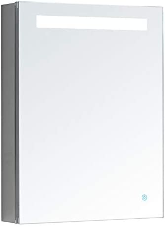 AQUADOM Pacifica, 20in x 26in x 5in Left Hinge, LED Medicine Cabinet, Defogger, Touch Screen Button, Electrical Outlet