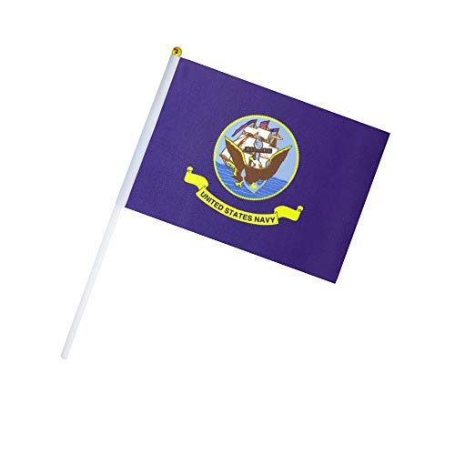 Kind Girl 50 Pack Hand Held US Navy Flag United States Military Flags Small Mini Flag on Stick,Navy Flag,Supplies for Parades,Decorative Items
