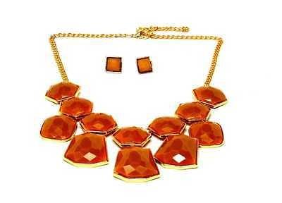 Lux Accessories Geo Glitter Drop Bib Necklace w/