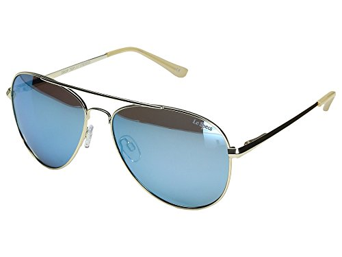 Le Specs Unisex Drop Top Brushed Gold/Ice Blue Revo Mirror Polarized - Top Sunglasses Men Brands For 10