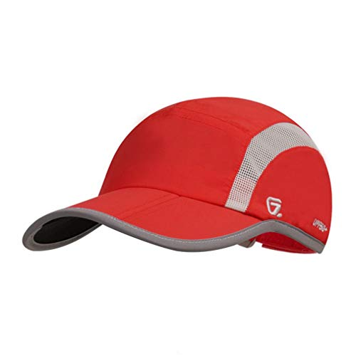 GADIEMKENSD Adjustable Quick Drying Reflective Foldable Running Cap Outdoor Sports Hat 40+ UPF Inhibit UV Mesh Race Performance Water Repellency Baseball Cap (Red) ()