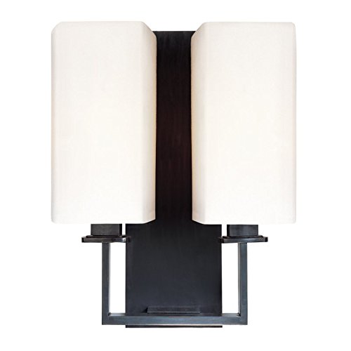 Hudson Valley Lighting Baldwin 2-Light Wall Sconce - Polished Nickel Finish with White Faux Silk Shade (Hudson Valley Square Sconce)