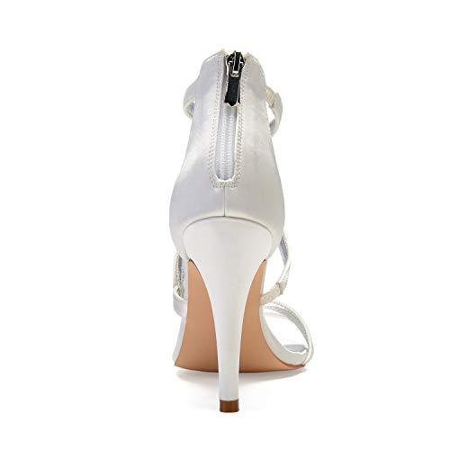 Pumps Talons Talon moyen Boutique Chaussures talon 10 Zipper magnifique Violet mariée Peep yc Toe de hauts L Femme 5cm Chunky 7qz71vw
