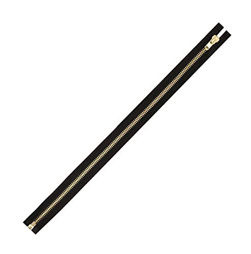 Mandala Crafts Separating Metal Zipper for Sewing, Bags, Coats, Jackets, Upholstery, Clothing, and Replacement; Heavy Duty, 1 Pack (Black Tape Gold Tone Tooth, Size 10 33 Inches) ()