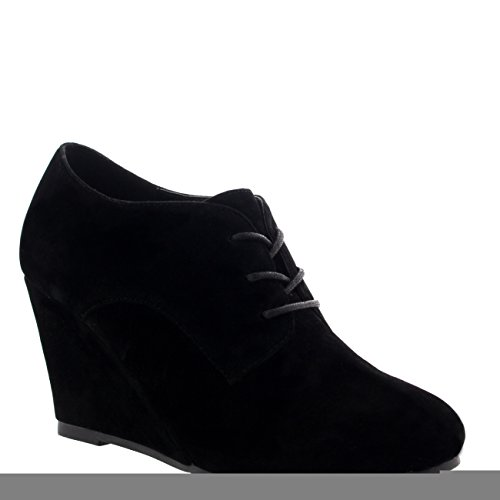 Womens Mary Jane Wedge Heel Evening Platform Lace Up Shoes Ankle Boots - Black Suede - US8/EU39 - KL0018E