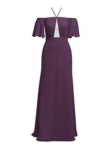Alicepub Grape Evening Chiffon Bridesmaid for Women's Dresses Long Formal Maxi Dress qUrOAq
