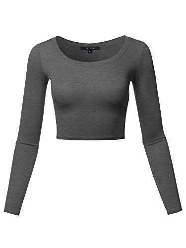 - Basic Solid Stretchable Scoop Neck Long Sleeve Crop Top Charcoal S