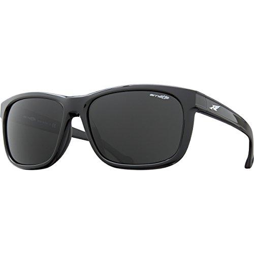 Arnette Slacker AN4196-01 Rectangular Sunglasses,Gloss Black/Grey,59 mm