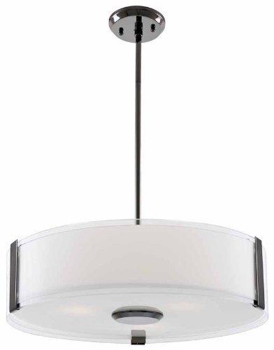 DVI Lighting DVP14506SN-SSOP Pendant with Silk Screened Opal Glass Shades, Satin Nickel - Pendant Lighting Silk