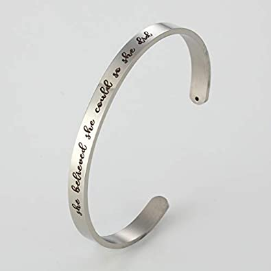 JOYID She Believed she Could so she did Stainless Steel Cuff Bangle Bracelet Inspirational for Daughter Friendship Gifts