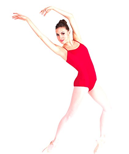 (Body Wrappers P830 Womens' Premiere Collection Camisole Leotard with Princess Seam Inserts (M, Scarlet))