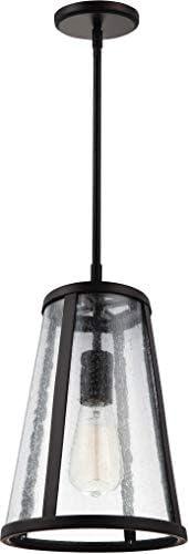Feiss P1287ORB Harrow Farmhouse Pendant Lighting, Bronze, 1-Light 8 Dia x 12 H 60watts