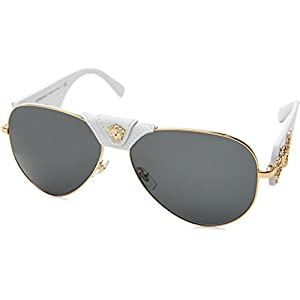Versace Women's 0VE2150Q 1341/87 Medusa Aviator Sunglasses, White/Grey