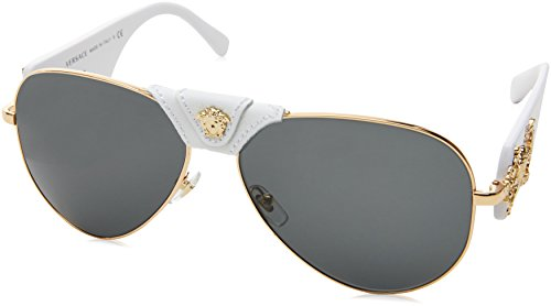 Versace Women's 0VE2150Q 1341/87 Medusa Aviator Sunglasses, White/Grey (Versace Gläser)
